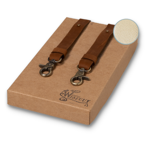 Wiseguy Suspenders - Crazy Horse Flex Skinny - Camel Off White (1)