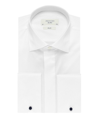 Profuomo Smoking Camisa - Blanco - Slim Fit - Twill - Double Cuff (1)