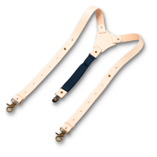 Wiseguy Suspenders - Crazy Horse Flex Dark Blue in Raw (2)